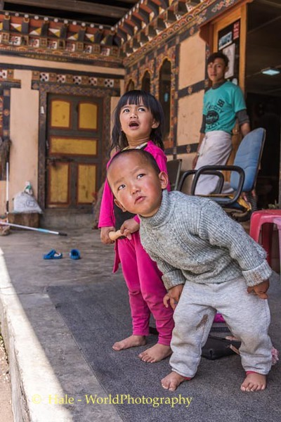 Bhutanese Children React to Passing Helicopter