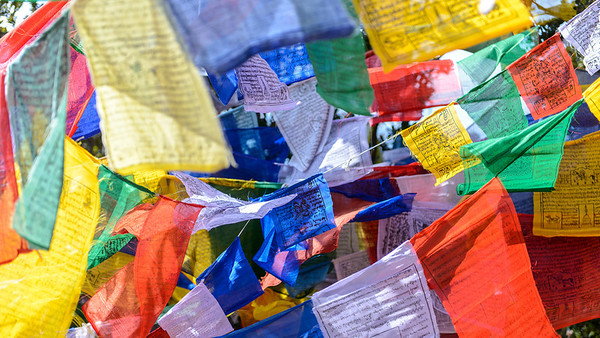 Prayer flags, Bhutan nature by Jens Kirkeby