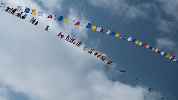 Buddhistic prayer flags, Bhutan nature by Jens Kirkeby