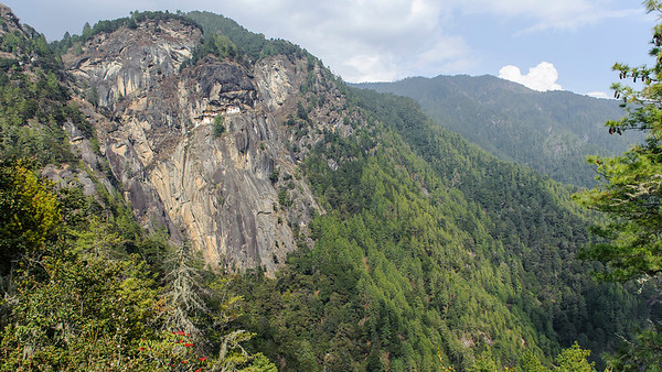 Taktshang Goemba, the iconic temple on the cliff wall in Paro Valley, Bhutan