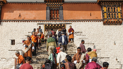 People are arriving to Paro Dzong for the Tshechu