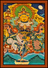 Wall painting - Punakha Dzong - massive fortress/monastery constructed in the mid-1600s