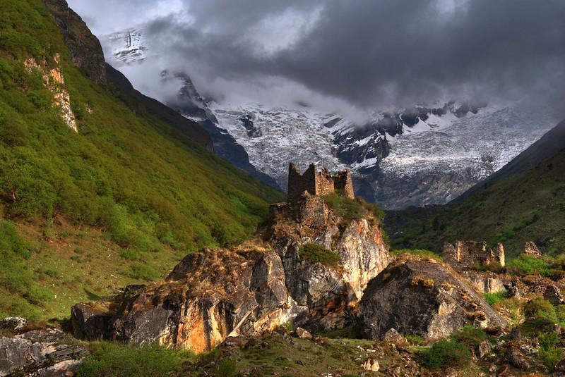 Jhomolhari with Dzong ruins