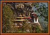 "Taktshang, ""The Tiger's Nest,"" a Tibetan Buddhist hermitage perched on a small cliff-side ledge 3,100 feet above the floor of the Paro Valley."