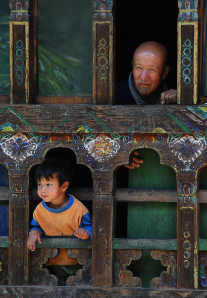 Farmer and grandson, Paro Valley