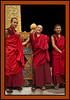 Monks after prayers - Punakha Dzong - massive fortress/monastery constructed in the mid-1600s