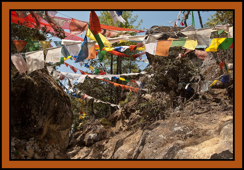 "Path to Taktshang, ""The Tiger's Nest,"" a Tibetan Buddhist hermitage perched on a small cliff-side ledge 3,100 feet above the floor of the Paro Valley."