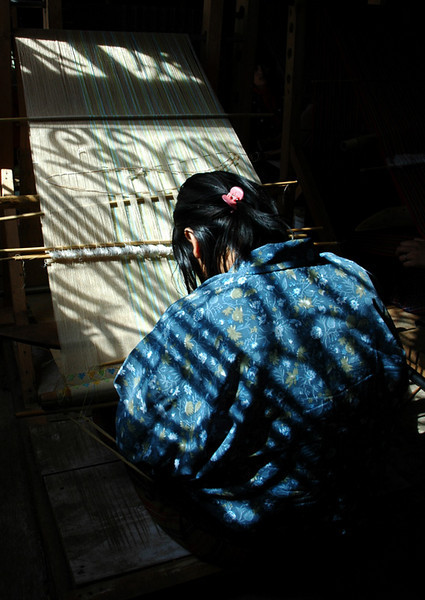 Weaver, at Gagyel Lhundrup Weaving Centre, Thimphu
