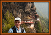 "David - Taktshang, ""The Tiger's Nest,"" a Tibetan Buddhist hermitage perched on a small cliff-side ledge 3,100 feet above the floor of the Paro Valley."