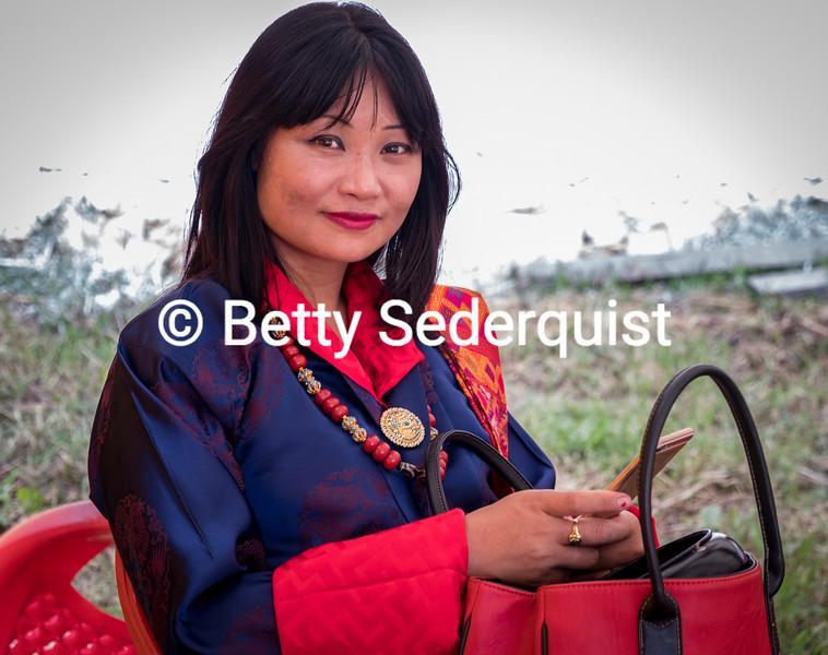 Beautiful Modern Woman at Moenian Chenmo, Bhutan