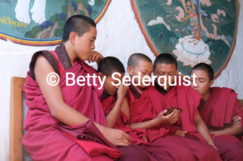 Young Monks and Cell Phone, Trongsa Dzong, Bhutan