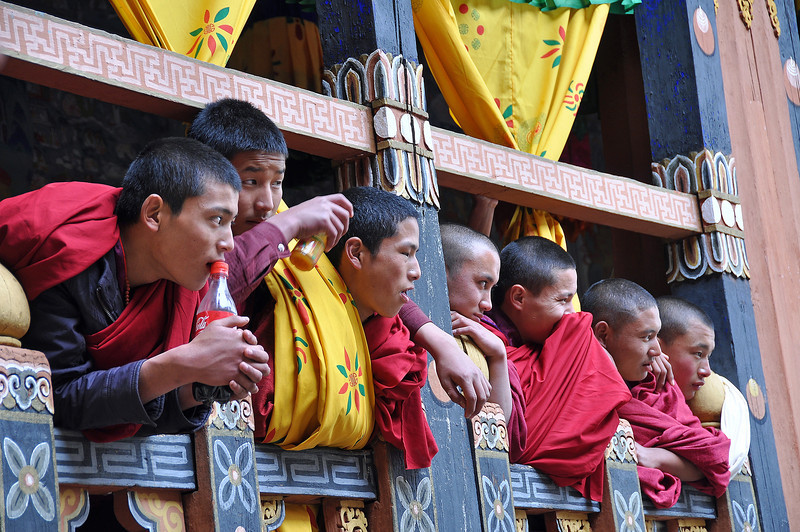 Monks watching the Paro Festival