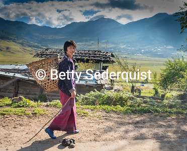 Pedestrian in Phobjikha Valley