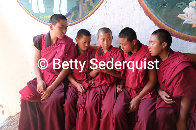 Monks Watching Video, Trongsa Dzong, Bhutan