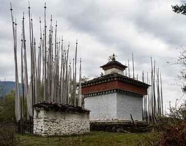 Vertical Prayer Flags and Stupa