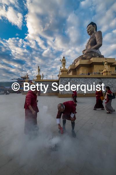 Incense Burning, Dordenma Buddha, Thimphu, Bhutan