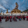 Worshippers Circle Around the Dordenma Buddha at Sunrise