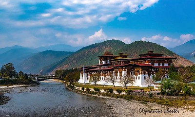 The Punakha Dzong , also known as the ' Palace of Great Happiness' is one of the most beautiful Dzongs in Bhutan. A dzong is a fortified building that incorporates both administrative and monastic institutions. The dzongs in Bhutan serve as a focal point for the local community such as during Tsechus (religious festivals) and showcases the country's artistic and intellectual heritage. Dzongs are usually built on hill tops or high ground for defensive reasons and tend to dominate the main towns of Bhutan. This is the second oldest and largest Dzong and was built in the early 16th century. Visited and photographed in March 2018
