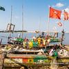 Fishermen prepare their boats for the next fishing trip, Biétry-Village, Abidjan, Côte d'Ivoire