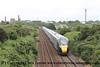 Class 800 5 Car IEP Set number 800 004 with 800 003 at the rear pass Brea Village with 5X90 0502 North Pole to Penzance empty stock working.  This is the first ever working of the Class 800 in Cornwall.<br /> 22nd June 2017