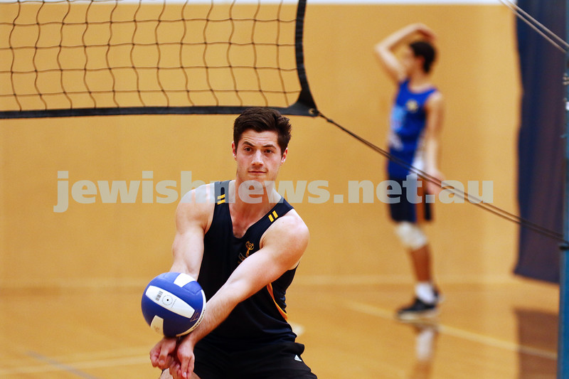 23-3-16. Bialik College Alumni v Year 12 volleyball match.  Photo: Peter Haskin