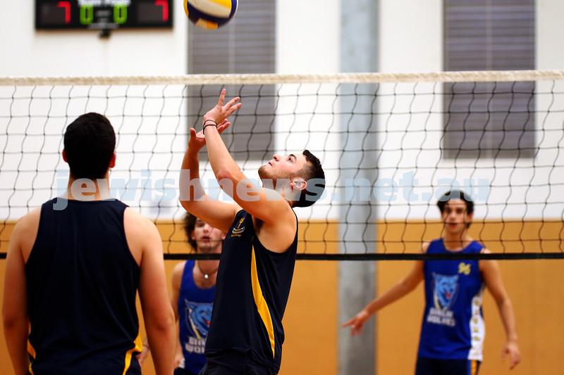 23-3-16. Bialik College Alumni v Year 12 volleyball match. Alumni setter. Photo: Peter Haskin