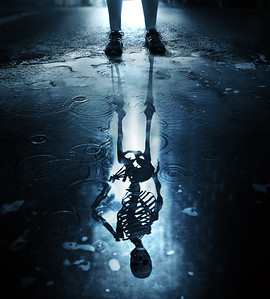 Skeleton reflection in puddle