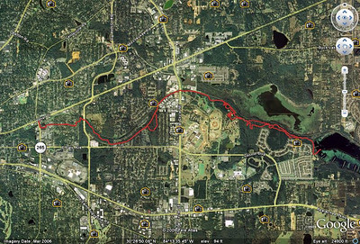 Where we rode 11 June, from this GPS track, loaded into Google Earth and saved as jpeg.