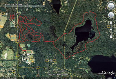 "Google Earth mashup showing sections we rode 20 Aug 09. (This is not a GPS track from 20 Aug.) Red Bug Trail's Small Intestine section and Forestmeadows (upper left) are on the west side of Meridian Road. Maclay Gardens State Park's singletrack Blair Witch Trail and the doubletrack multiuse ""5M figure-8"" are east of Meridian. Connector from Maclay School track also shown."