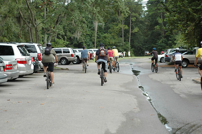 Grabbing a group snap as we roll through the Forestmeadows parking lot to pick up folks parked at the south end.