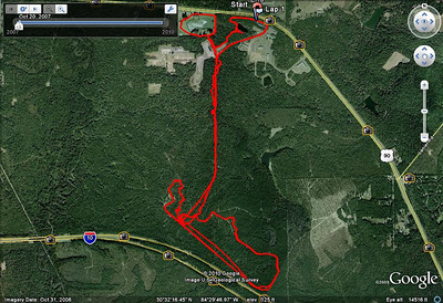 From this GPS track. Yes, I did three COMPLETE loops, without all the cheater shortcutting that everyone else did, you pansies. :-) Check the player to follow along. I will not entertain suggestions that this course looks like something out of a veterinarian's trash can. I can't work like this.