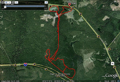 """Pre-ride of the Dirty 10/20/30 course. Includes an error in the lower right loop. That error bisects the loop, and is shaped like a """"7."""" Total error is ~1Km. From this GPS track. Try the player version of the GPS track to follow along. I correctly rode the southern section (minus my """"7"""" error) during this ride. See the official GPS track for comparison. VIDEO compilation coming..."""