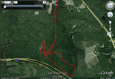 """Dirty 30 south woods section ONLY! This track does NOT show the entire loop! It's only the major """"woods"""" section of the course. It does not show the start nor the loop around the pond along US90. I post this track just to correct my """"7"""" error in my 21 March track."""
