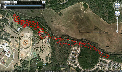 Sunday's XC loop. From this GPS'd pre-ride. Actual loop distance = 10.75Km/6.68M.