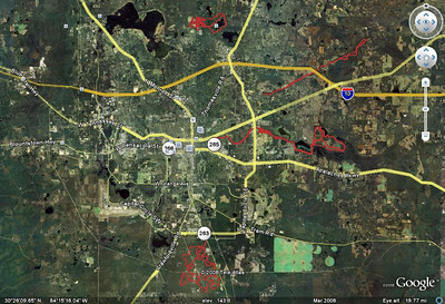 Let's raise the balloon a bit higher for a wider look. Here's a quick locater map for what might be Tallahassee's most popular MTB trails. Note that we're looking at 4 red GPS tracks. Clockwise from the top: 1) Red Bug Trail (3.4M), Maclay Gardens State Park's Lake Overstreet Trail (5M) including Blair Witch Trail (2.7M) and the Secret Trail connector (1.5M). 2) Miccosukee Greenway Park (7M+ end-to-end). 3) Fern Trail, Magnolia Trail (4M), Cadillac Trail with Lafayette Heritage multiuse trail, Alford Greenway Park/Coupe de Ville Trail (~5.5M perimeter around the nearly 900 acre park). 4) Munson Hills Trail (8.8M including Tall Pine Shortcut) and Twilight Zone Trail (~10M) plus ~1.75M of legal connecting singletrack.