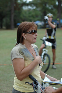 Terri makes sure the names and the riders match.