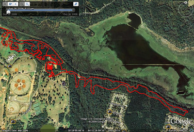 "From this GPS track. The course, plus a few of my ""cuts,"" entrance from the Fern Trail Connector to the west, and some Goose Pond paved trail. Everything will be ridden anticlockwise. Some comments from my Gone Riding Facebook 16 Oct post: ""The east section is nearly identical to last year with minimal revision at Lafayette Heritage Trail's doubletrack at #22 just before Loblolly. That's where some folks were shortcutting last year. Same east turnaround point. Yes, you ride wet through the creek like last year. It was awesome today on the SS rigid 29er. West end of the course is revised due to Red Cross construction. You still get to ride the Gun Range edge and drop. Direction of the course is same as last year, anticlockwise. Yes, BMX track just before finishing each lap."""