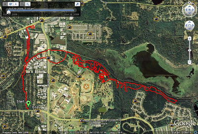 My Friday meanderings from home base through East Fern Trail's Bog Loop, to Higher Ground's new MTB shop (top left), to Magnolia Trail, onto the FSC #4 course in the west field at #34, lap and a quarter, exit onto paved Goose Pond Trail, back to Higher Ground via Fern Connector, then home via Bog Loop's east side.