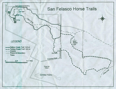 Horse Trails Map The equestrian trails are also located in the northern section of the preserve. No shared trails with bikes, other than intersections.