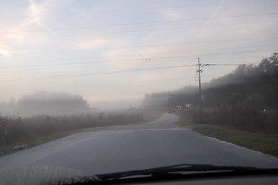 Arriving at the north park entrance through the fog.