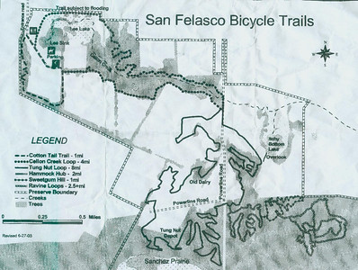 Bike Trails Map Tour de Felasco includes far more than is shown here. These bike trails are located in a (relatively) small section in the north end of San Felasco's ~7000 acres.