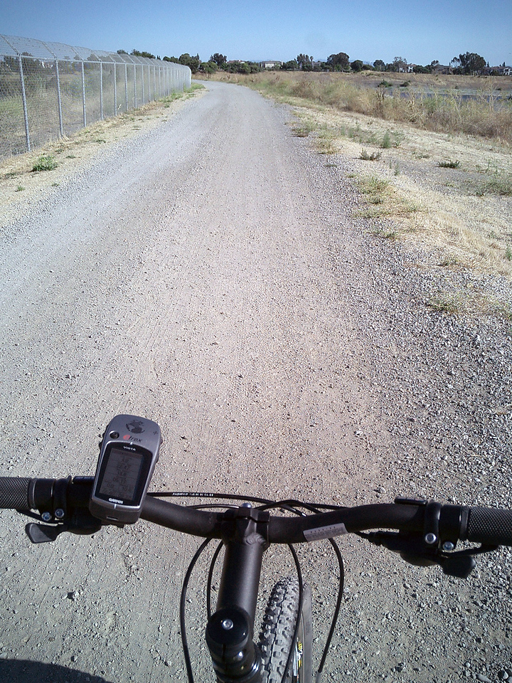 Etrex Vista GPS on the handlebar. Added a small pump and a water bottle holder (note: no water bottle). A rack, a bag, and a water bottle are next on the list. Stay tuned.