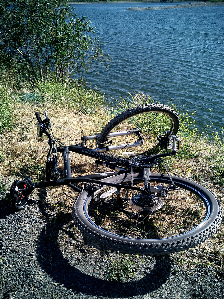 July 7, 2004. My new Rockhopper Comp. <br /> First ride: An afternoon ride on the Alameda Creek  Trail. Mostly flat , a mix of pavement and dirt. This was taken at Quarry Lakes. Total Distance traveled: 9.4 miles. Moving Average: 9 mph. Max Speed: 18.8 mph