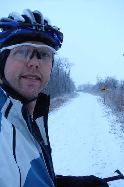 """Early on near Robins. A few days ago this was clear and the initial crushed limestone section had maybe 2"""" of frozen snow over a base of ice.   Now there is 1-2"""" of fresh snow, which wouldn't itself be bad but it's been in the 30's recently and the base is now soft.  Slow going now, but at least it's passable.  Wont be for long, I'm soon to find out..."""