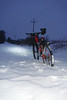 Snow is deep and soft enough to hold up the bike.   This would be great for building a snow fort...