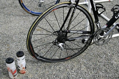 The rider is fine, the bottles need washing, but this wheel is toast.
