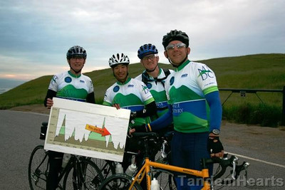 This group of four was hanging together for the whole ride. They are holding a chart that shows the elevation profile for the ride.