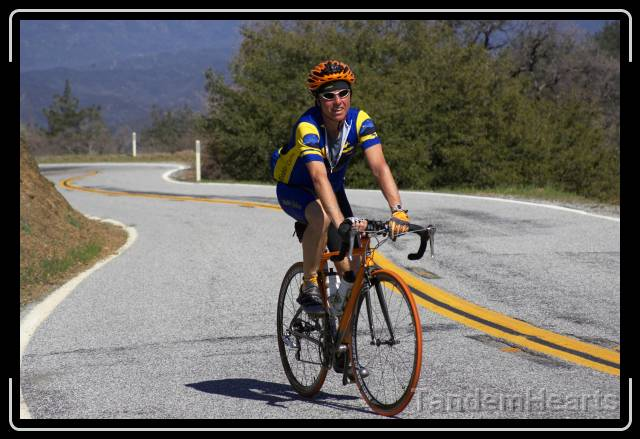 Jay looks a little tired at mile 133, after a very long climb. Jay uses Groupo Pumpkin for all his cycling needs