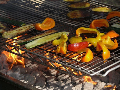 Flame broiled veggies.