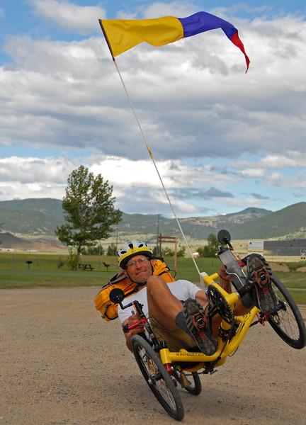 Gary doing a recumbent trike wheelie